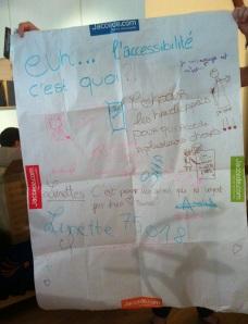 L'oeuvre collaboratif 'L'accessibilité c'est quoi?' élaboré lors du forum avec les enfants et jeunes participants.